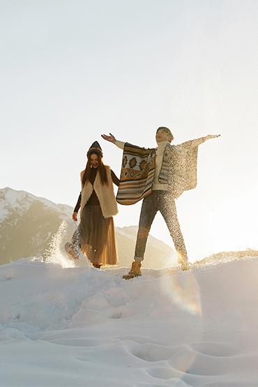 雪景婚纱照  浪漫夕阳