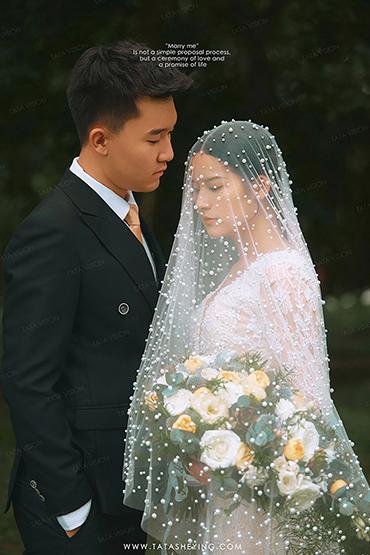 成都珍珠森系婚纱照 端庄典雅外景